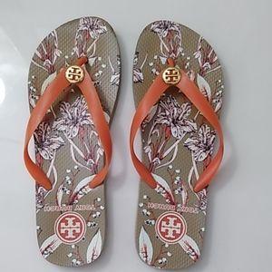 Floral Tory Burch flip flops sz Large